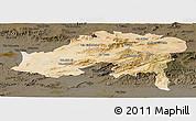 Satellite Panoramic Map of Batna, darken