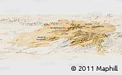 Satellite Panoramic Map of Batna, lighten