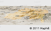 Satellite Panoramic Map of Batna, semi-desaturated