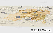 Satellite Panoramic Map of Batna, shaded relief outside