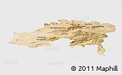 Satellite Panoramic Map of Batna, single color outside