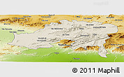 Shaded Relief Panoramic Map of Batna, physical outside