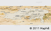 Shaded Relief Panoramic Map of Batna, satellite outside