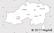 Silver Style Simple Map of Batna, cropped outside