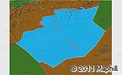 Political 3D Map of Bechar, darken