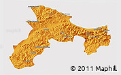 Political 3D Map of Bejaia, cropped outside