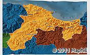 Political 3D Map of Bejaia, darken
