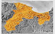 Political 3D Map of Bejaia, desaturated