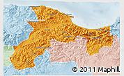 Political 3D Map of Bejaia, lighten