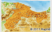 Political 3D Map of Bejaia, physical outside