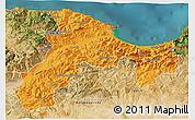 Political 3D Map of Bejaia, satellite outside