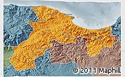 Political 3D Map of Bejaia, semi-desaturated