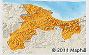 Political 3D Map of Bejaia, shaded relief outside