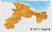 Political 3D Map of Bejaia, single color outside