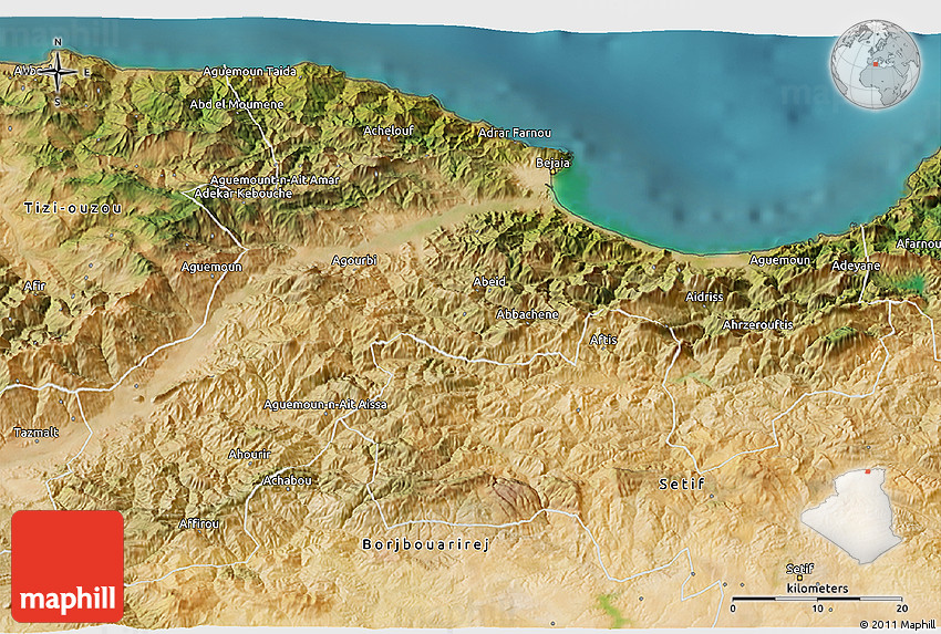 Satellite D Map Of Bejaia - Béjaïa map