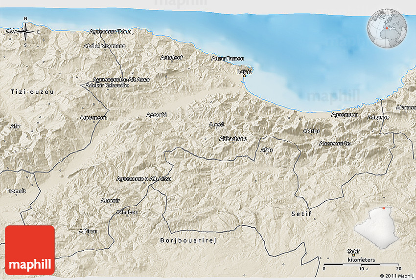 Shaded Relief D Map Of Bejaia - Béjaïa map