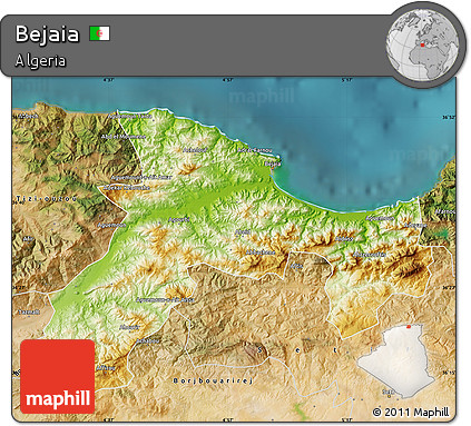 Free Physical Map Of Bejaia Satellite Outside - Béjaïa map