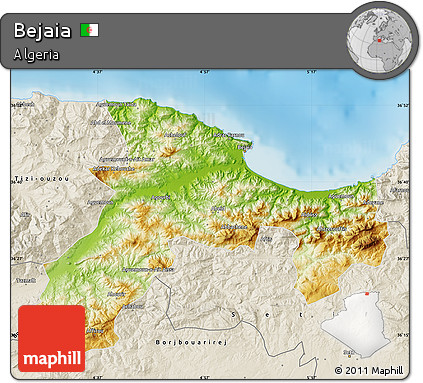 Free Physical Map Of Bejaia Shaded Relief Outside - Béjaïa map