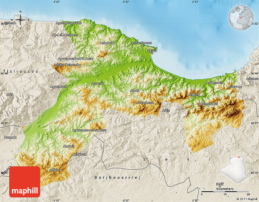 Physical Map Of Bejaia Shaded Relief Outside - Béjaïa map