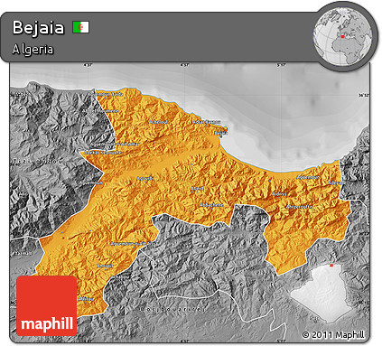 Free Political Map Of Bejaia Desaturated - Béjaïa map