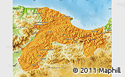 Political Map of Bejaia, physical outside
