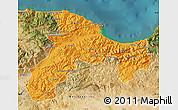 Political Map of Bejaia, satellite outside