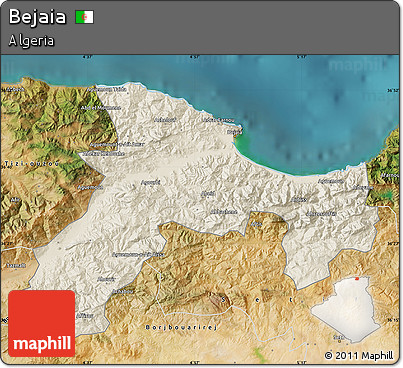Free Shaded Relief Map Of Bejaia Satellite Outside - Béjaïa map