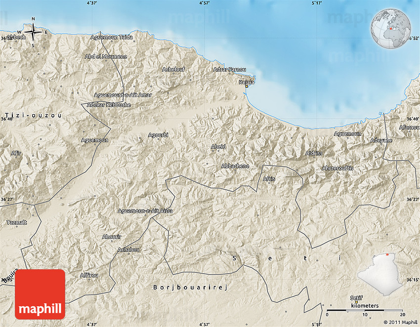 Shaded Relief Map Of Bejaia - Béjaïa map