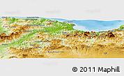 Physical Panoramic Map of Bejaia