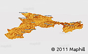 Political Panoramic Map of Bejaia, cropped outside