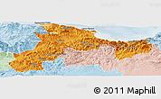 Political Panoramic Map of Bejaia, lighten