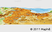 Political Panoramic Map of Bejaia, physical outside