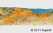 Political Panoramic Map of Bejaia, satellite outside