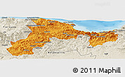 Political Panoramic Map of Bejaia, shaded relief outside