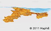 Political Panoramic Map of Bejaia, single color outside