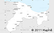 Silver Style Simple Map of Bejaia