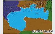 Political 3D Map of Biskra, darken