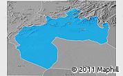 Political 3D Map of Biskra, desaturated