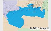 Political 3D Map of Biskra, lighten