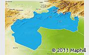 Political 3D Map of Biskra, physical outside