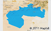 Political 3D Map of Biskra, satellite outside