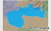 Political 3D Map of Biskra, semi-desaturated