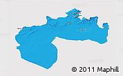 Political 3D Map of Biskra, single color outside