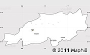 Silver Style Simple Map of Blida, cropped outside