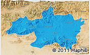 Political 3D Map of Borjbouarirej, satellite outside