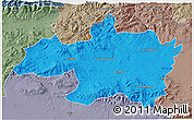 Political 3D Map of Borjbouarirej, semi-desaturated
