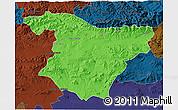 Political 3D Map of Bouira, darken