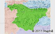 Political 3D Map of Bouira, lighten