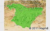 Political 3D Map of Bouira, satellite outside