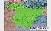 Political 3D Map of Bouira, semi-desaturated